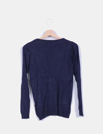 Jersey azul marino cuello pico