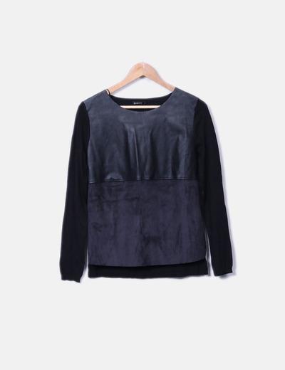 Camiseta de punto negra combinada Stradivarius