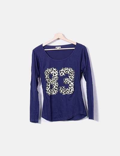 Camiseta print azul marino