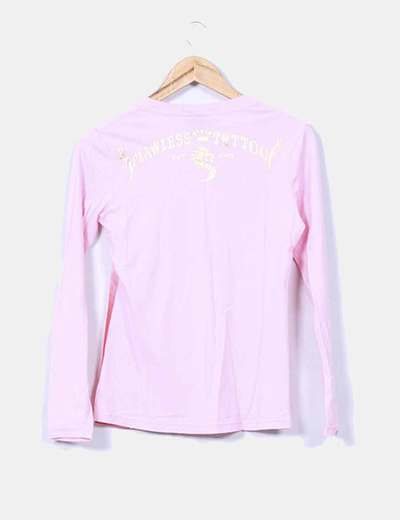 Camiseta rosa estampada manga larga