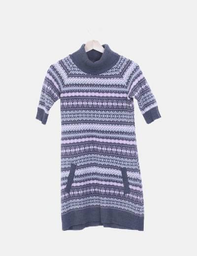 Vestido tricot con cuello cisne