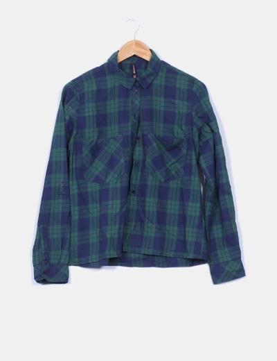 Camisa cuadros verdes y azules Stradivarius
