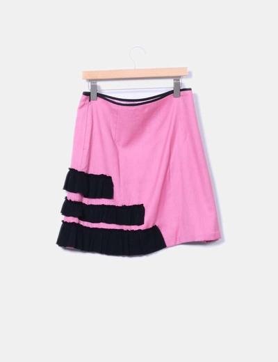 Falda de punto rosa detalle volantes y pailettes