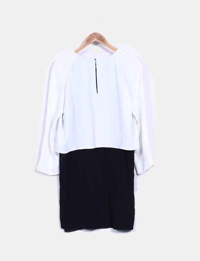 nuevo concepto precios increibles último estilo Vestido blanco y negro capa