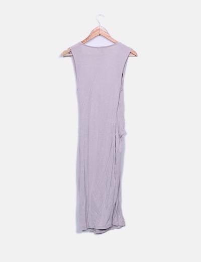 Vestido fluido lila cruzado