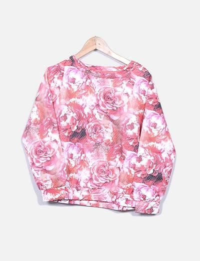 Sudadera floral rosa Mango