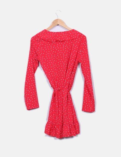Vestido rojo cruzado print estrellas