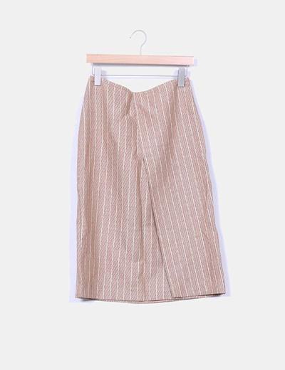 Conjunto vintabe falda midi camel con rayas y blazer