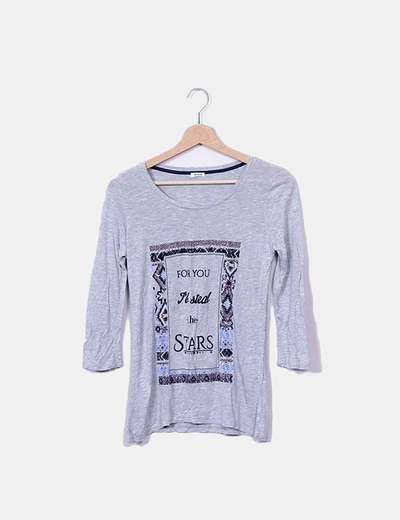 Camiseta gris print frase Pimkie