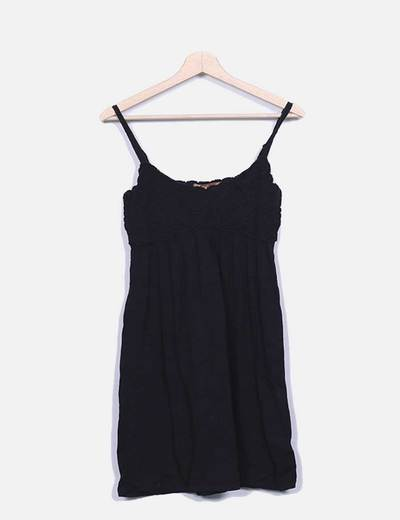 Vestido punto negro combniado Love and Money