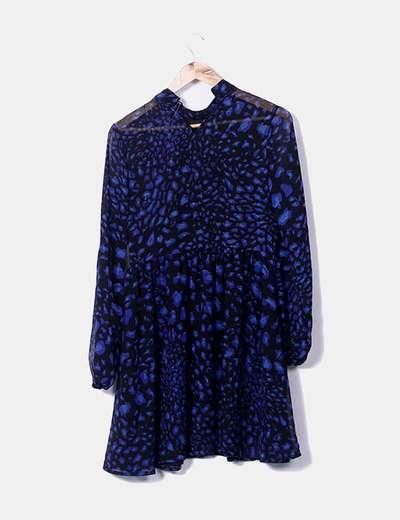 Vestido negro estampado azul klein