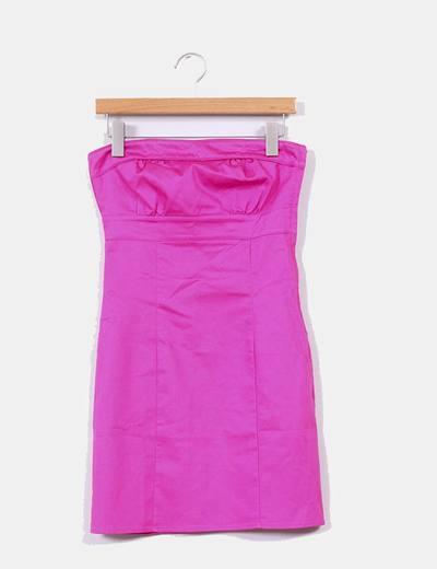 Vestido  fucsia tela satinada H&M
