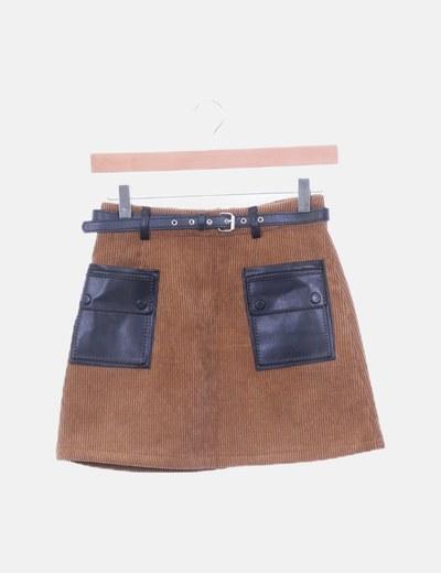 Mini falda pana marrón polipiel