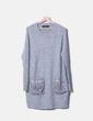Robe grise à poches à fourrure tricot Zara