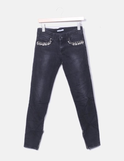 Jeans negro strass