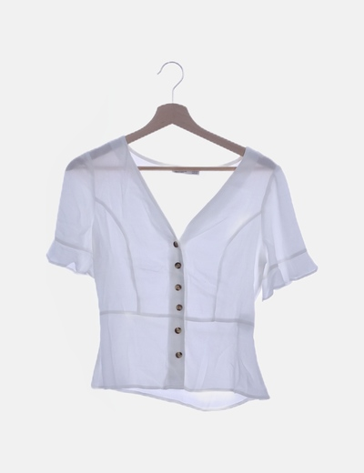 Blusa blanca manga corta botones
