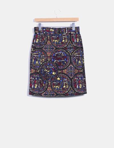 Falda midi estampado multicolor