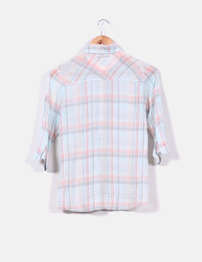 Blusa de cuadros en tonos pastel