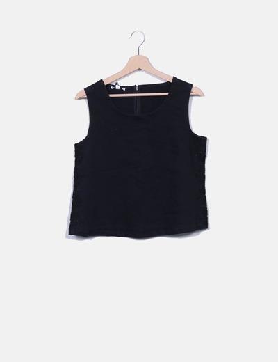 Blusa denim negra