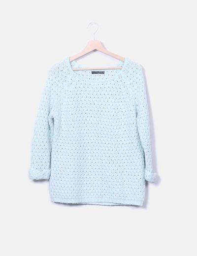 Jersey tricot azul calado
