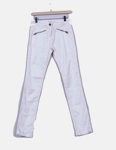 Pantalón blanco nacarada efecto encerado  Soft Grey