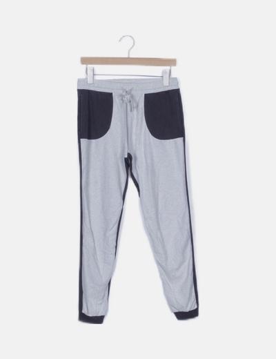 Pantalón jogger bicolor