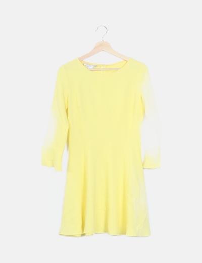 Vestido mini amarillo manga larga