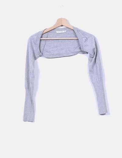 Chaqueta torera tricot gris Bershka