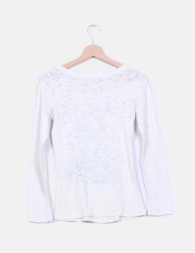 Camiseta beige manga larga estampada