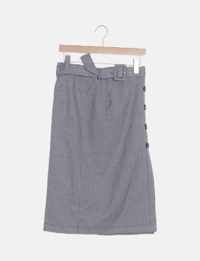 Falda tubo cuadros grises