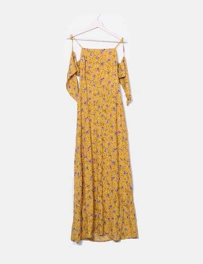 Vestido mostaza floral abertura espalda Stradivarius