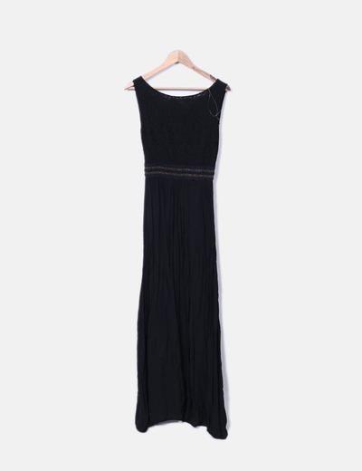 Vestido negro maxi combinado