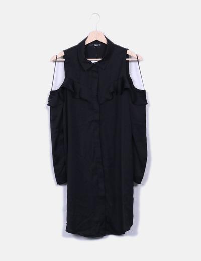 Vestido negro camisero hombro descubierto Suiteblanco