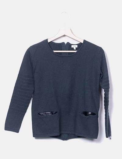Jersey tricot con detalle bolsillos