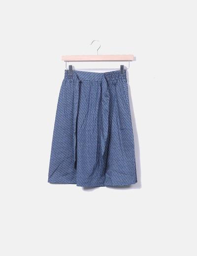 Falda midi estampado azul