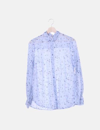 Camisa azul floral