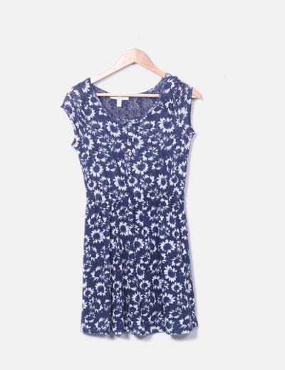 Vestido floreado azul marinho