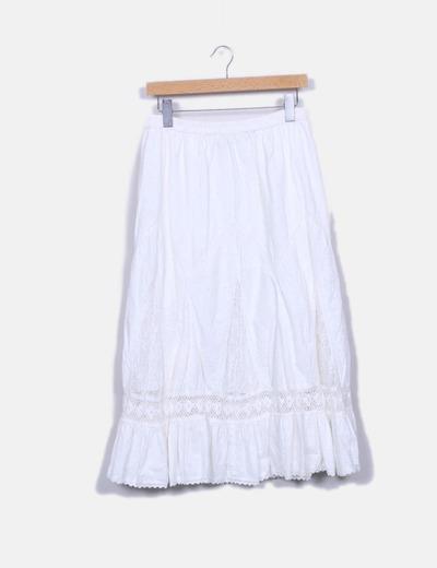 Falda larga blanca combinada
