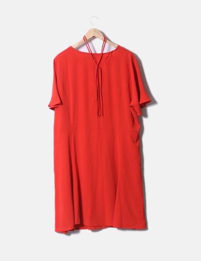 Vestido rojo violeta by mango