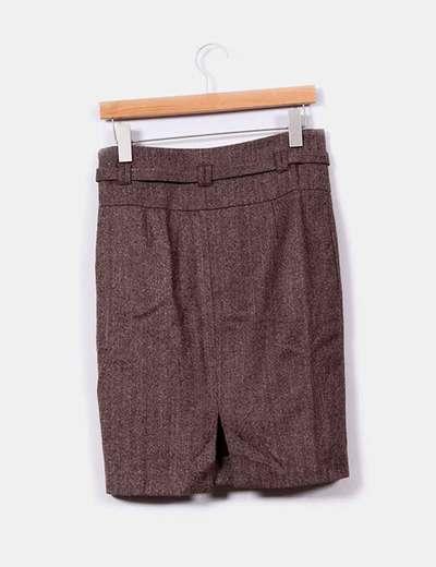 Traje de blazer y falda en tweed marron