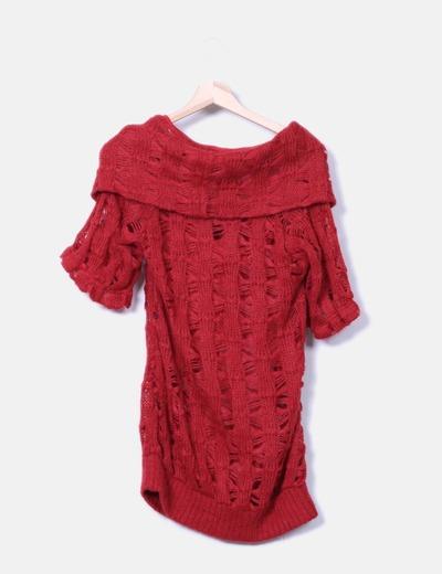 Jersey rojo de lana troquelado