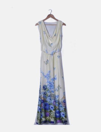 Maxi vestido satinado beige estampado floral