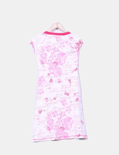 Vestido midi estampado en tonos rosas