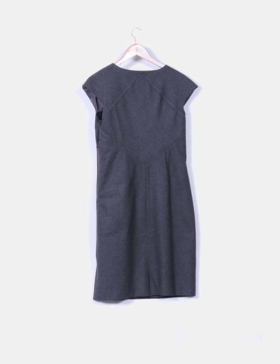 Vestido midi de pano gris marengo