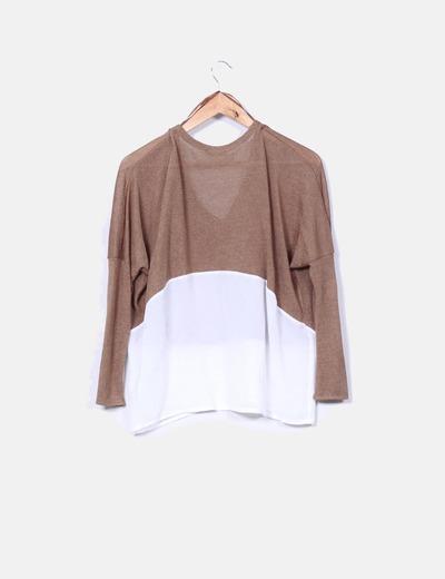 651fd0781b2 Camel sweater combined fabrics