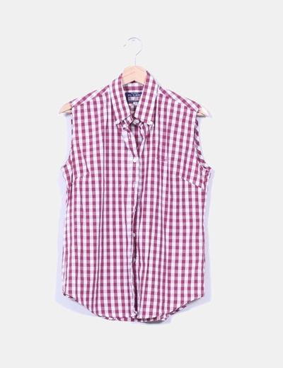 Blusa de cuadros color vino NoName