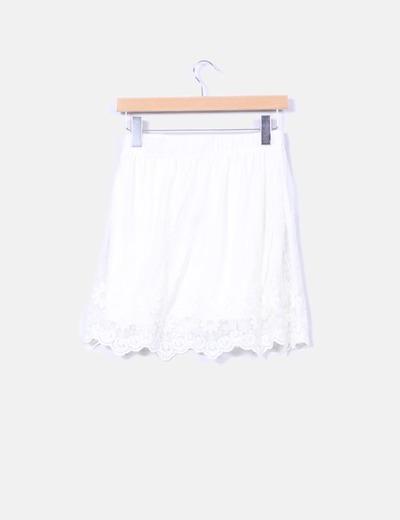 Falda vuelo de tul beige