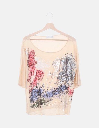 Camiseta tricot beige paillettes