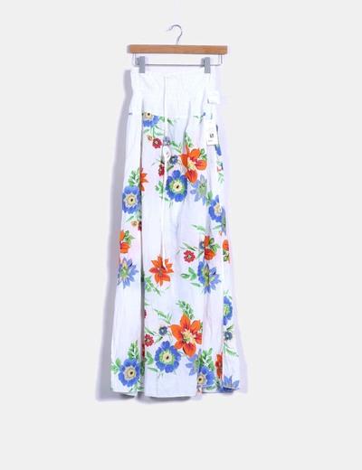 Vestido largo blanco con estampado floral Made in Italy