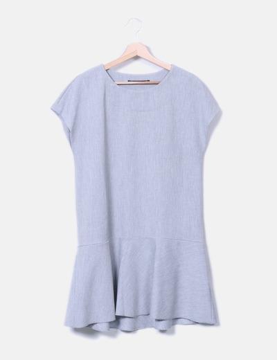 Vestido canalé gris Zara